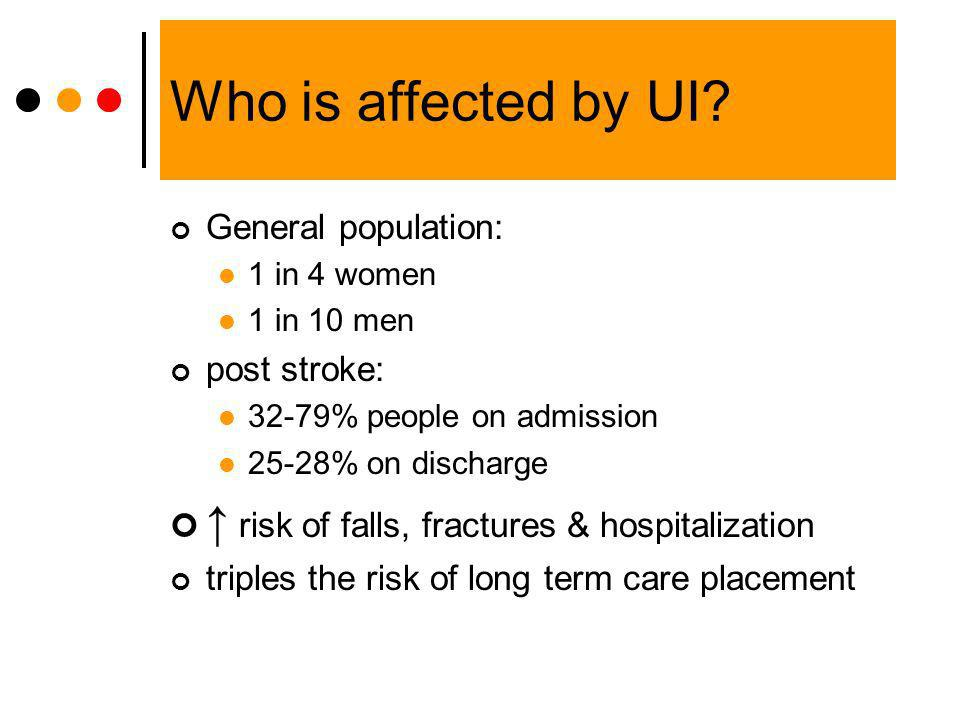 Who is affected by UI? General population: 1 in 4 women 1 in 10 men post stroke: 32-79% people on admission 25-28% on discharge risk of falls, fractur