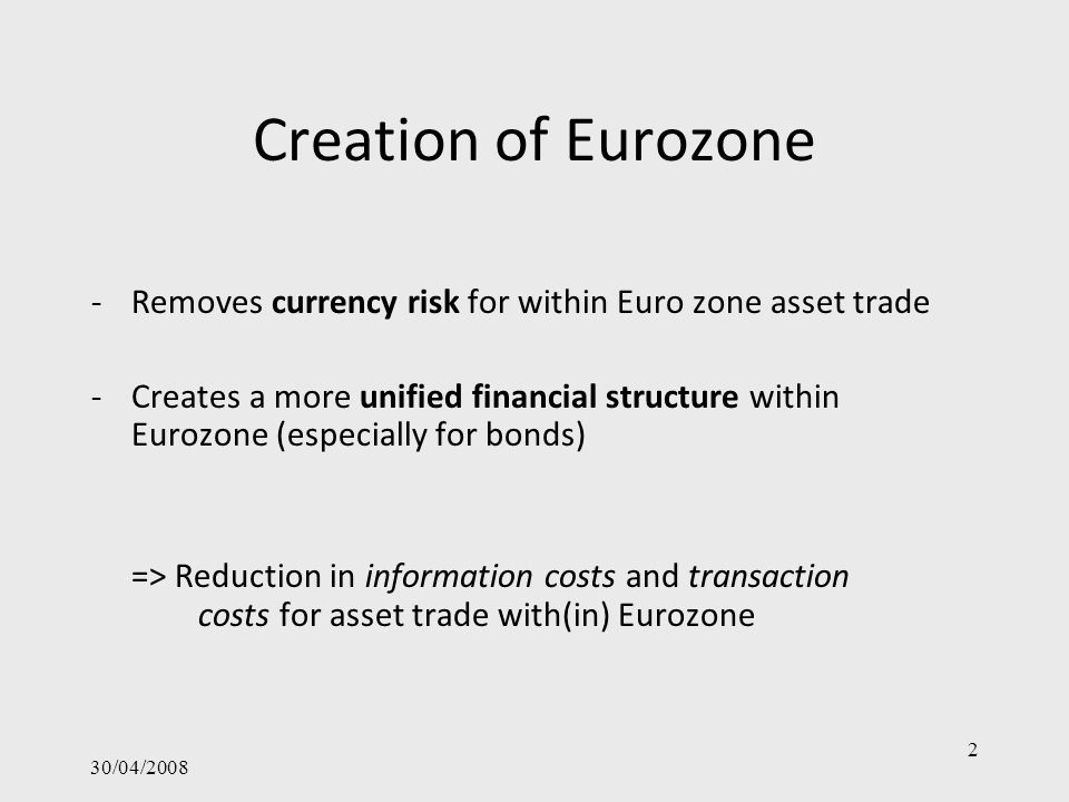 30/04/2008 3 Research Questions 1.Do Eurozone countries invest proportionally more in other Eurozone countries.