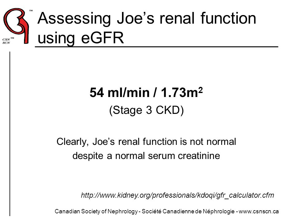 Canadian Society of Nephrology - Société Canadienne de Néphrologie - www.csnscn.ca Assessing Joes renal function using eGFR 54 ml/min / 1.73m 2 (Stage