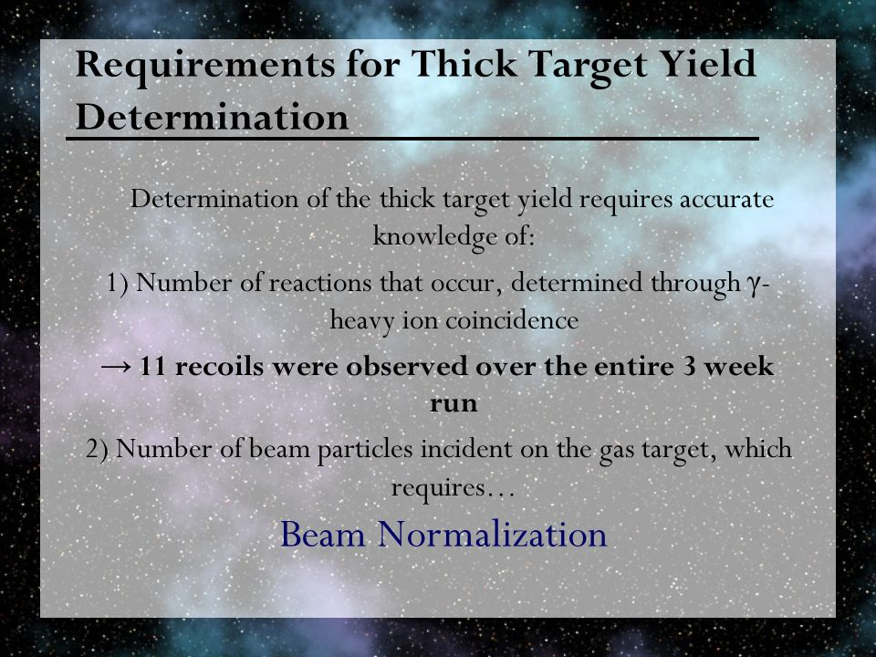 Requirements for Thick Target Yield Determination Determination of the thick target yield requires accurate knowledge of: 1) Number of reactions that occur, determined through γ - heavy ion coincidence 11 recoils were observed over the entire 3 week run 2) Number of beam particles incident on the gas target, which requires… Beam Normalization