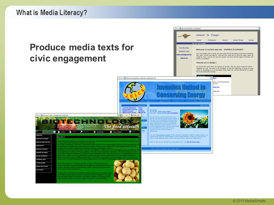 What is Media Literacy? © 2013 MediaSmarts Produce media texts for civic engagement
