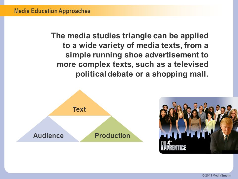 Media Education Approaches © 2013 MediaSmarts The media studies triangle can be applied to a wide variety of media texts, from a simple running shoe a