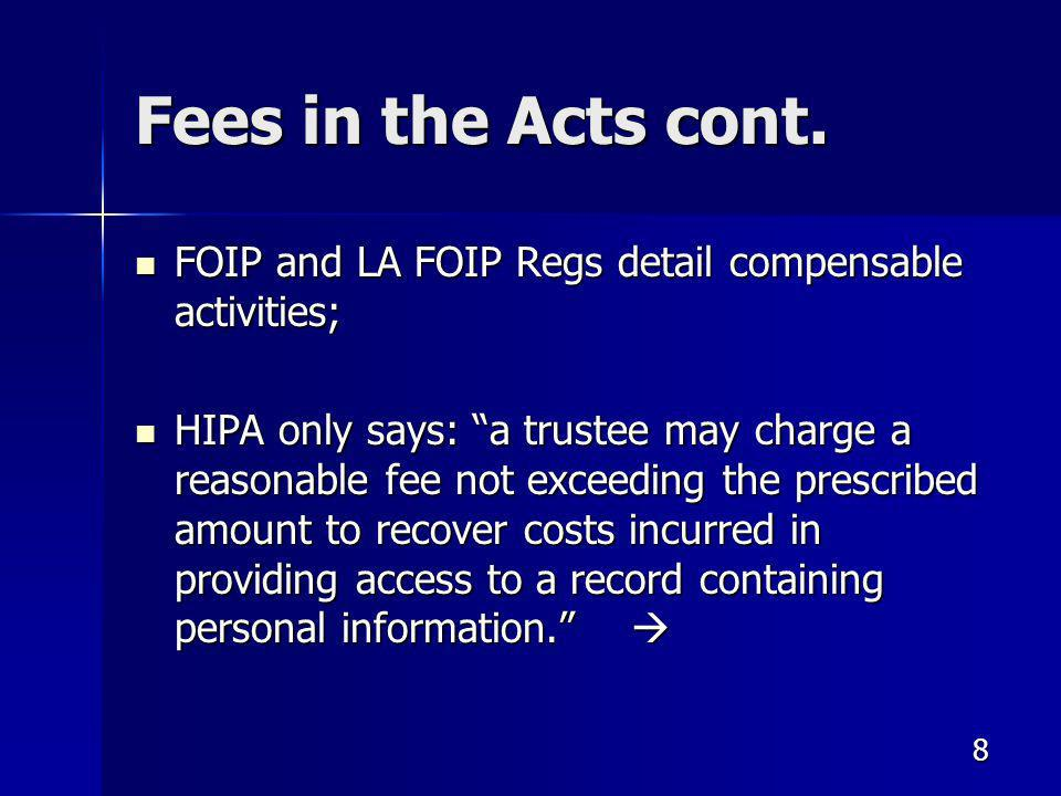8 Fees in the Acts cont.