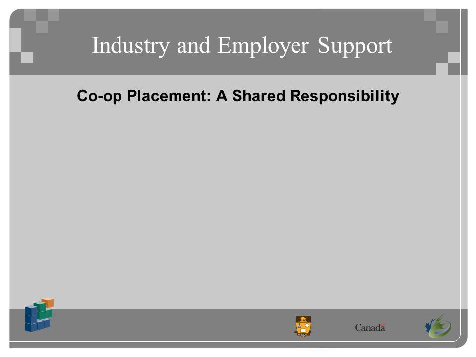 Industry and Employer Support Co-op Placement: A Shared Responsibility