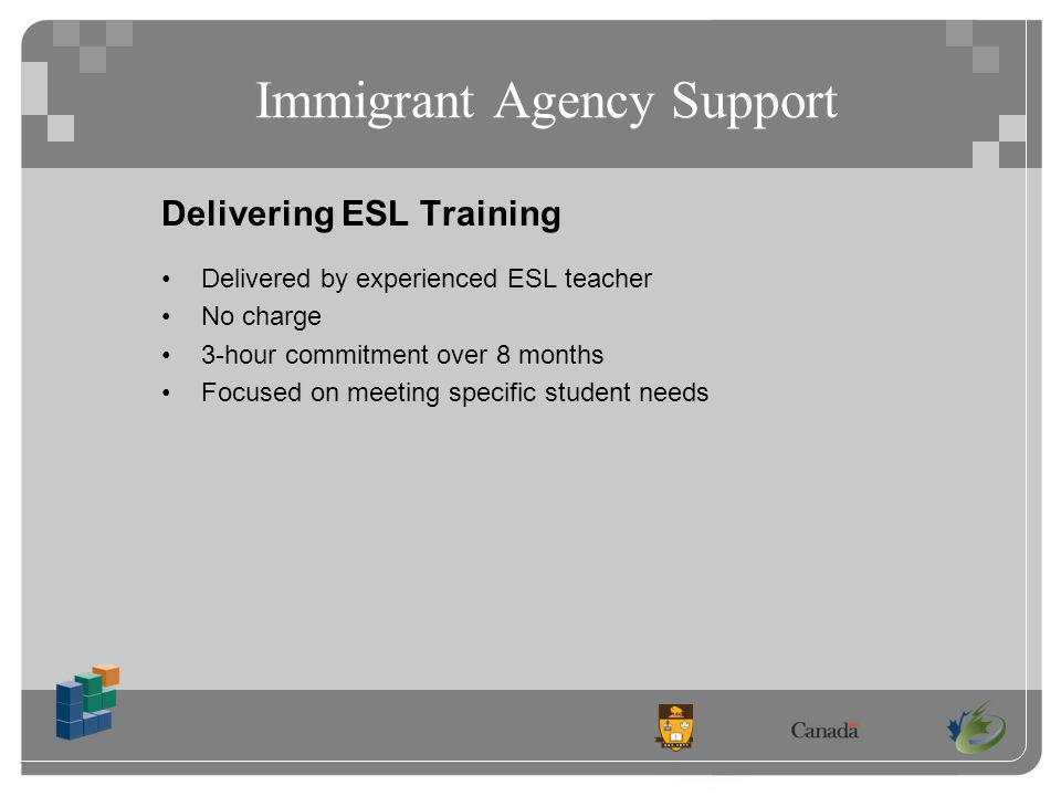 Immigrant Agency Support Delivering ESL Training Delivered by experienced ESL teacher No charge 3-hour commitment over 8 months Focused on meeting specific student needs