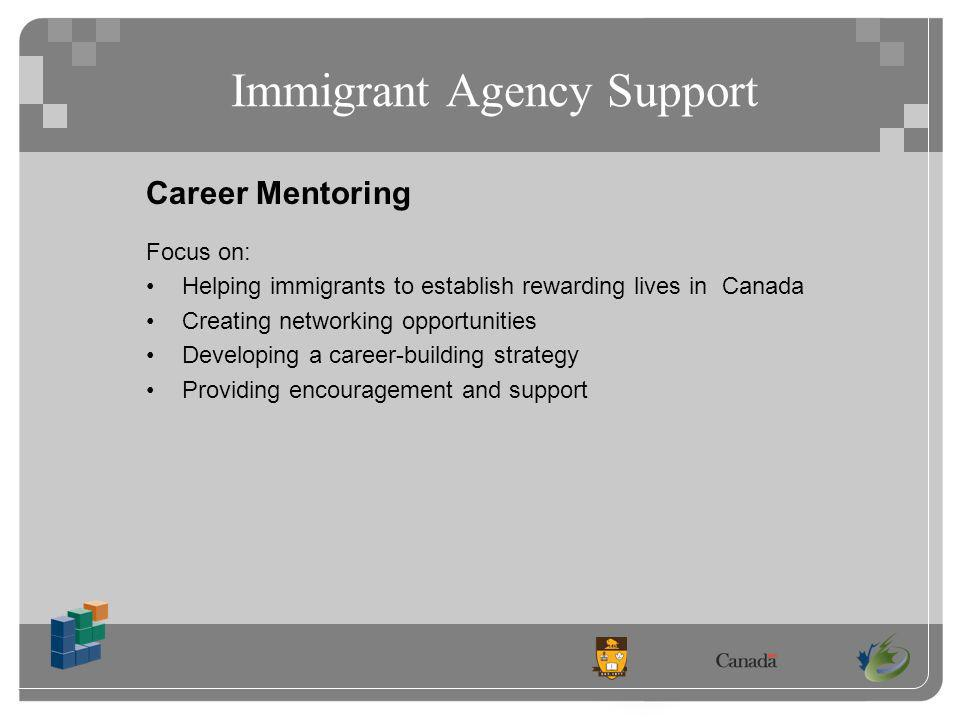 Immigrant Agency Support Career Mentoring Focus on: Helping immigrants to establish rewarding lives in Canada Creating networking opportunities Developing a career-building strategy Providing encouragement and support