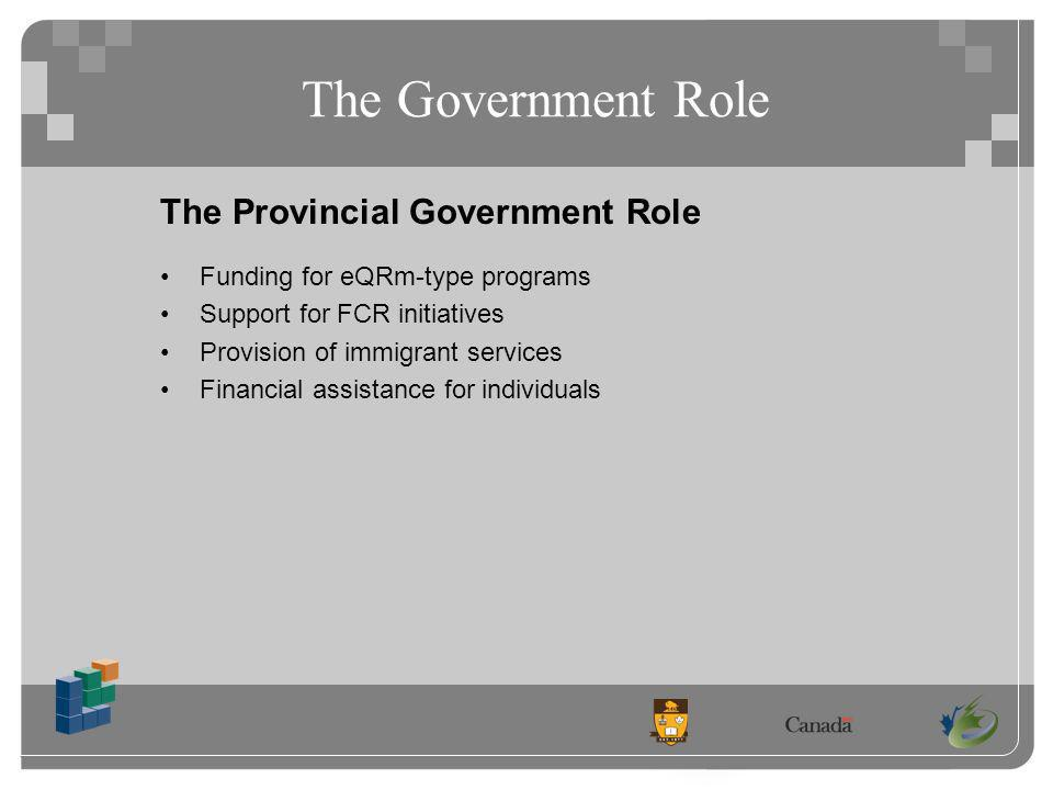 The Government Role The Provincial Government Role Funding for eQRm-type programs Support for FCR initiatives Provision of immigrant services Financial assistance for individuals