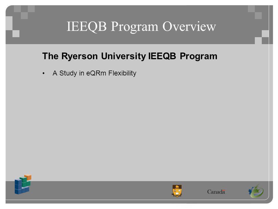 IEEQB Program Overview The Ryerson University IEEQB Program A Study in eQRm Flexibility