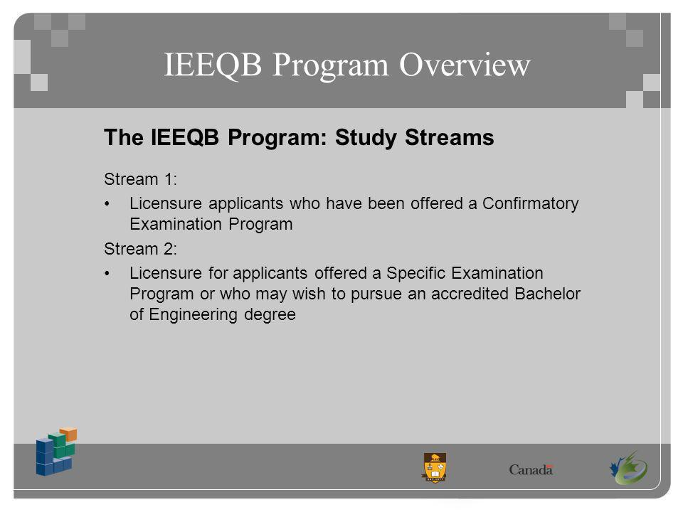 IEEQB Program Overview The IEEQB Program: Study Streams Stream 1: Licensure applicants who have been offered a Confirmatory Examination Program Stream 2: Licensure for applicants offered a Specific Examination Program or who may wish to pursue an accredited Bachelor of Engineering degree