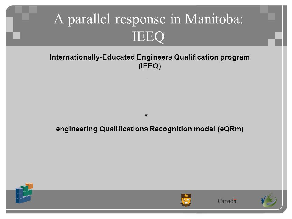 A parallel response in Manitoba: IEEQ Internationally-Educated Engineers Qualification program (IEEQ) engineering Qualifications Recognition model (eQRm)