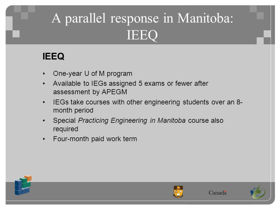 A parallel response in Manitoba: IEEQ IEEQ One-year U of M program Available to IEGs assigned 5 exams or fewer after assessment by APEGM IEGs take courses with other engineering students over an 8- month period Special Practicing Engineering in Manitoba course also required Four-month paid work term