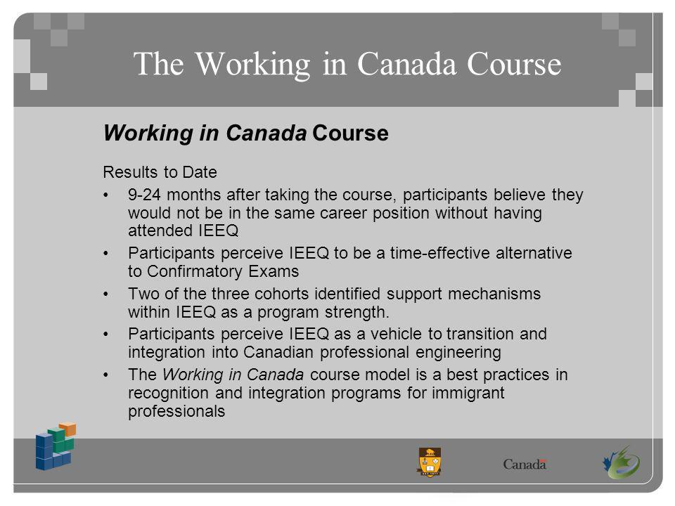 The Working in Canada Course Working in Canada Course Results to Date 9-24 months after taking the course, participants believe they would not be in the same career position without having attended IEEQ Participants perceive IEEQ to be a time-effective alternative to Confirmatory Exams Two of the three cohorts identified support mechanisms within IEEQ as a program strength.