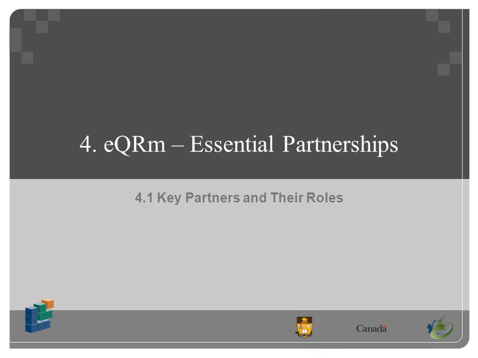 4. eQRm – Essential Partnerships 4.1 Key Partners and Their Roles