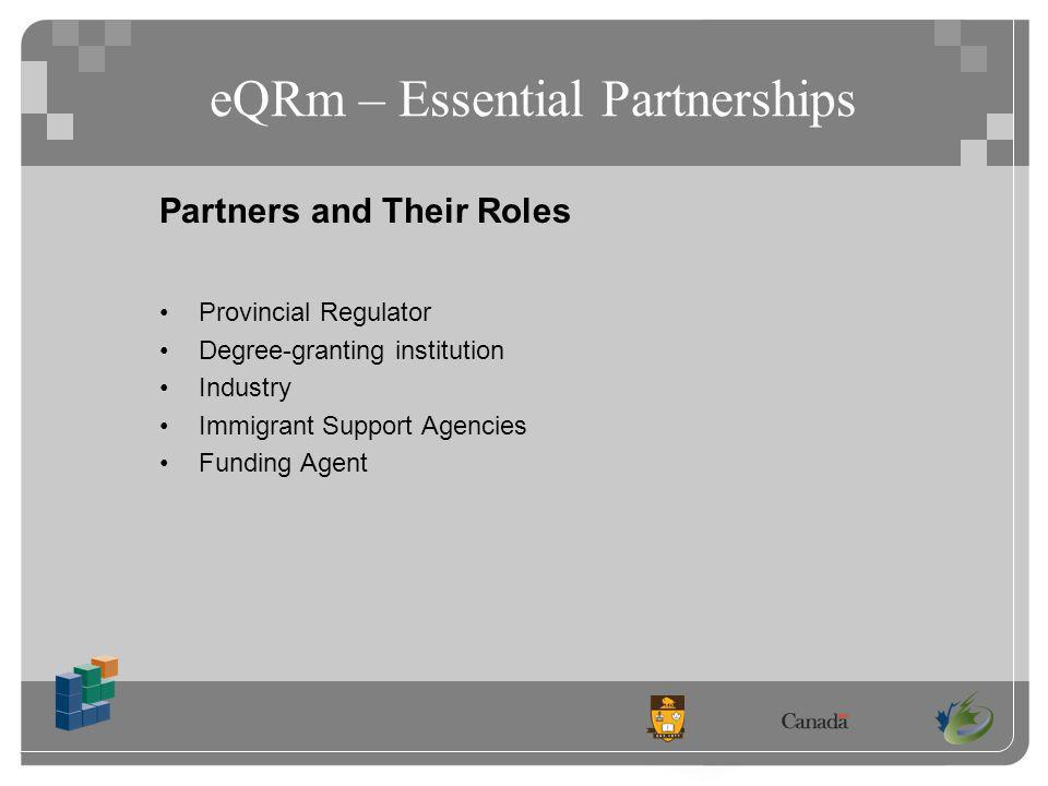 eQRm – Essential Partnerships Partners and Their Roles Provincial Regulator Degree-granting institution Industry Immigrant Support Agencies Funding Agent