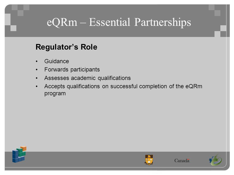 eQRm – Essential Partnerships Regulators Role Guidance Forwards participants Assesses academic qualifications Accepts qualifications on successful completion of the eQRm program