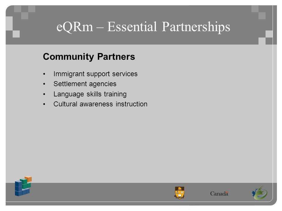 eQRm – Essential Partnerships Community Partners Immigrant support services Settlement agencies Language skills training Cultural awareness instruction