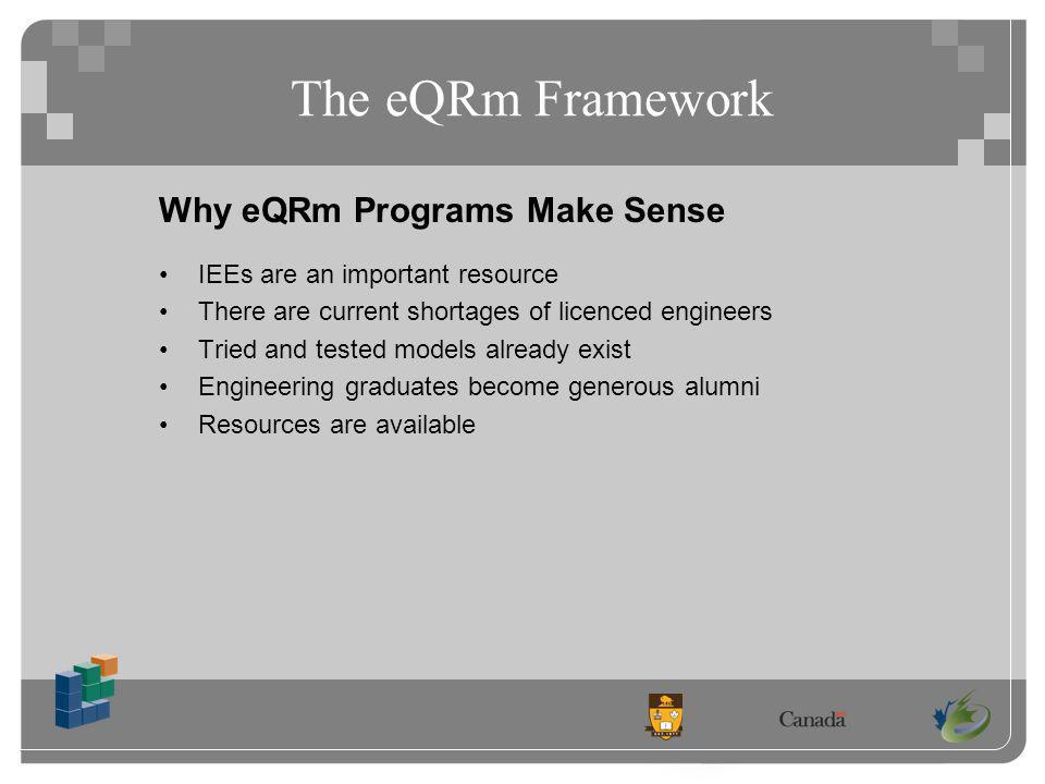 Comparison of the IEEB and IEEQB Programs IEEQ / IEEQB Conclusion: More similarities than differences between the two programs The eQRm model demonstrates flexibility to accommodate local needs