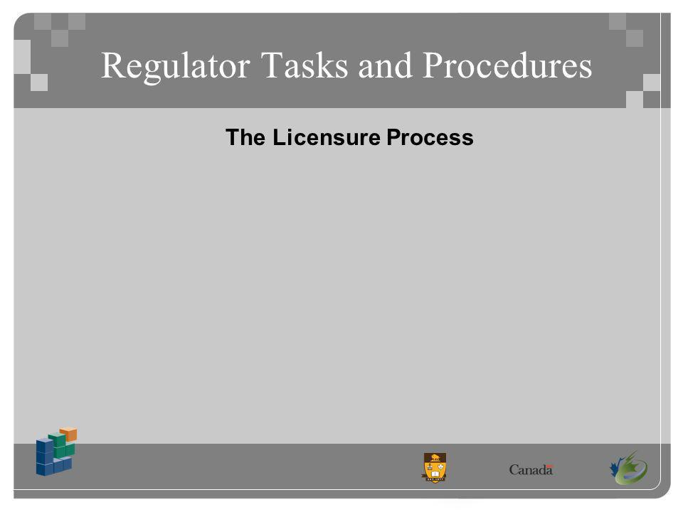 Regulator Tasks and Procedures The Licensure Process
