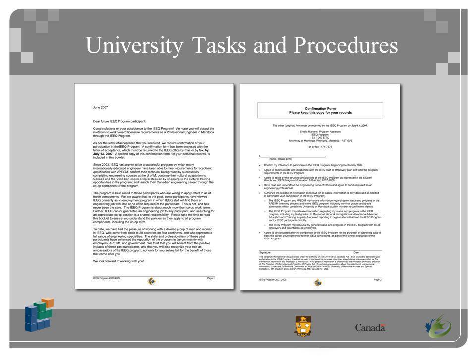 University Tasks and Procedures