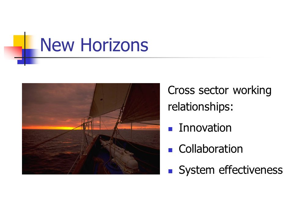 New Horizons Cross sector working relationships: Innovation Collaboration System effectiveness