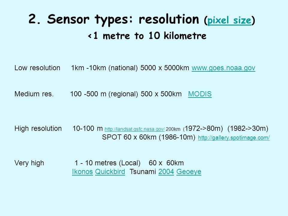 2. Sensor types: resolution (pixel size) <1 metre to 10 kilometrepixel size Low resolution 1km -10km (national) 5000 x 5000km www.goes.noaa.govwww.goe