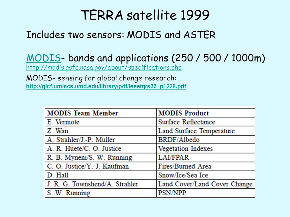 TERRA satellite 1999 Includes two sensors: MODIS and ASTER MODISMODIS- bands and applications (250 / 500 / 1000m) http://modis.gsfc.nasa.gov/about/specifications.php MODIS- sensing for global change research: http://glcf.umiacs.umd.edu/library/pdf/ieeetgrs36_p1228.pdf