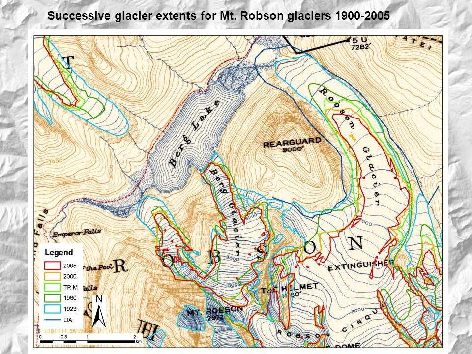 Successive glacier extents for Mt. Robson glaciers 1900-2005