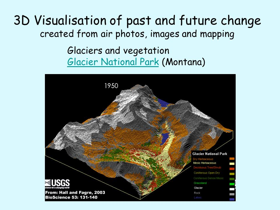 3D Visualisation of past and future change created from air photos, images and mapping Glaciers and vegetation Glacier National ParkGlacier National Park (Montana)