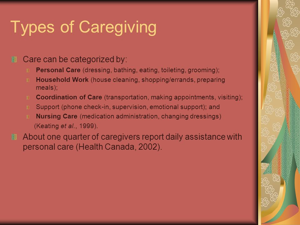 Types of Caregiving Care can be categorized by: Personal Care (dressing, bathing, eating, toileting, grooming); Household Work (house cleaning, shoppi