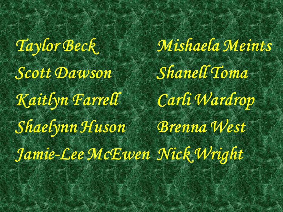 Taylor BeckMishaela Meints Scott DawsonShanell Toma Kaitlyn FarrellCarli Wardrop Shaelynn HusonBrenna West Jamie-Lee McEwenNick Wright