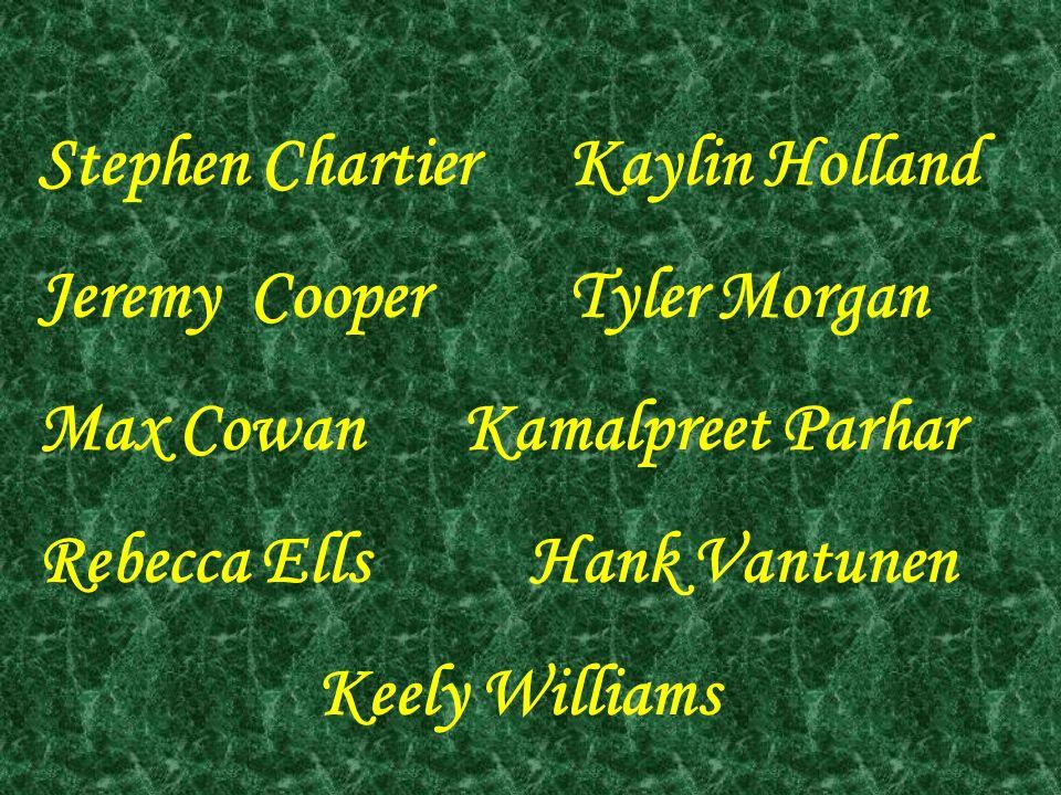 Stephen ChartierKaylin Holland Jeremy CooperTyler Morgan Max CowanKamalpreet Parhar Rebecca Ells Hank Vantunen Keely Williams