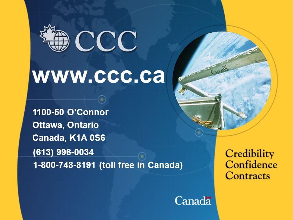 15 www.ccc.ca 1100-50 OConnor Ottawa, Ontario Canada, K1A 0S6 (613) 996-0034 1-800-748-8191 (toll free in Canada)
