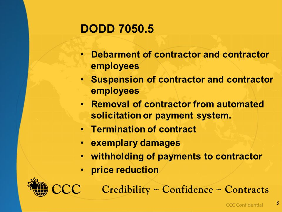 8 DODD 7050.5 Debarment of contractor and contractor employees Suspension of contractor and contractor employees Removal of contractor from automated