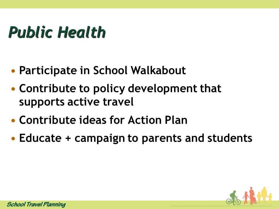 Public Health Participate in School Walkabout Contribute to policy development that supports active travel Contribute ideas for Action Plan Educate + campaign to parents and students