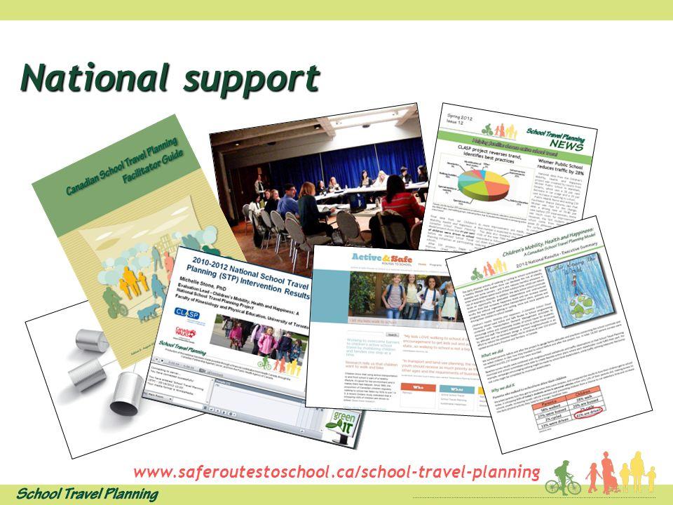 National support www.saferoutestoschool.ca/school-travel-planning