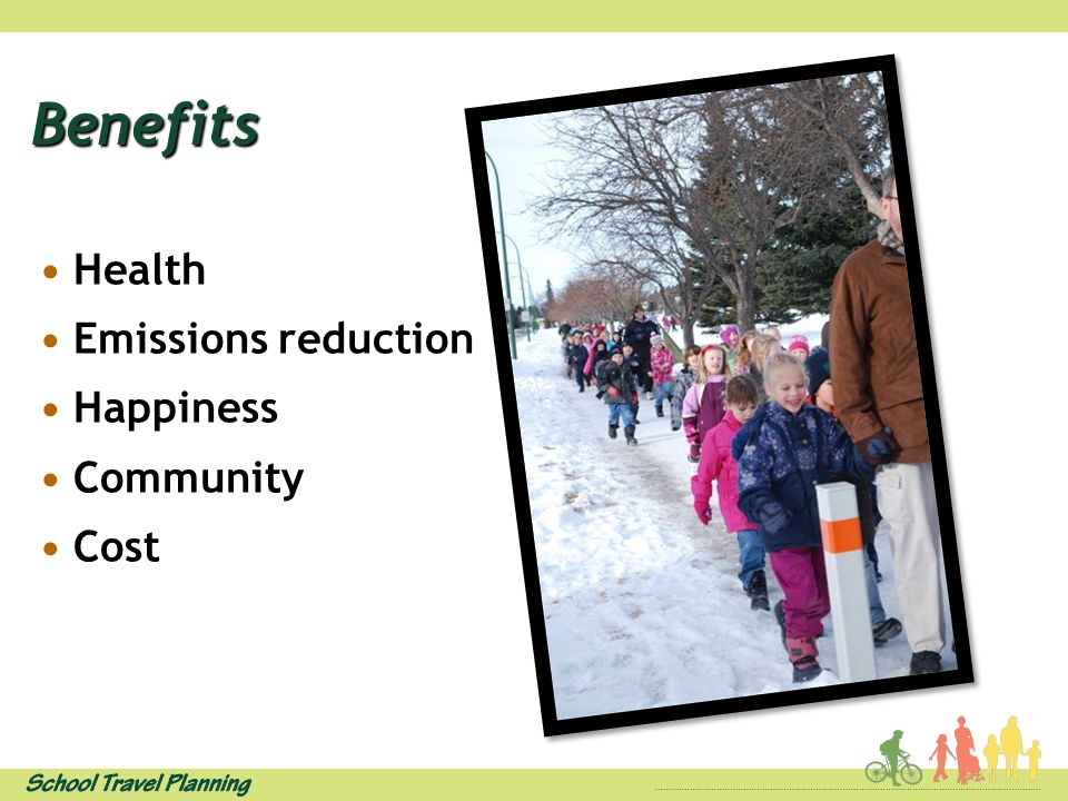 Benefits Health Emissions reduction Happiness Community Cost