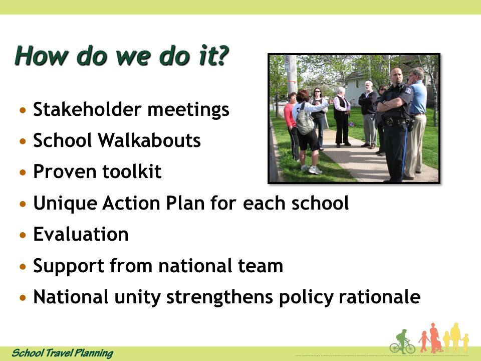How do we do it? Stakeholder meetings School Walkabouts Proven toolkit Unique Action Plan for each school Evaluation Support from national team Nation