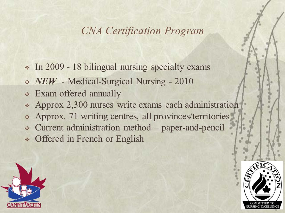 Development of the exam Requires many subject matter experts from across Canada (e.g., nephrology nurses) National standards for the practice area - foundation for competencies Subject matter experts write items Each exam question is based on a competency Psychometric experts ensure reliability and validity of the exam items Final exam approval by certification specialty exam committee Translation of English exam into French (translation experts) Translation committee ensures accuracy of translation Exam administration