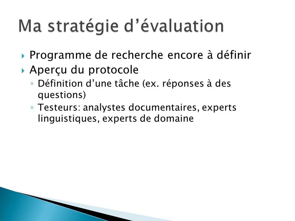 Programme de recherche encore à définir Aperçu du protocole Définition dune tâche (ex.