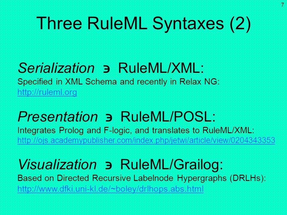 6 Three RuleML Syntaxes (1) Syntax Visualization RuleML/Grailog Symbolic Presentation Serialization RuleML/POSLRuleML/XML