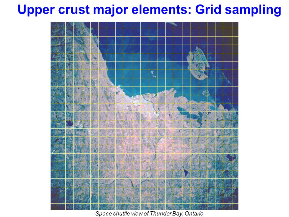Upper crust major elements: Grid sampling Space shuttle view of Thunder Bay, Ontario