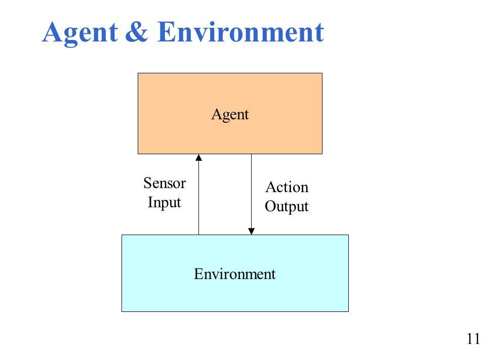 11 Agent & Environment Agent Environment Sensor Input Action Output