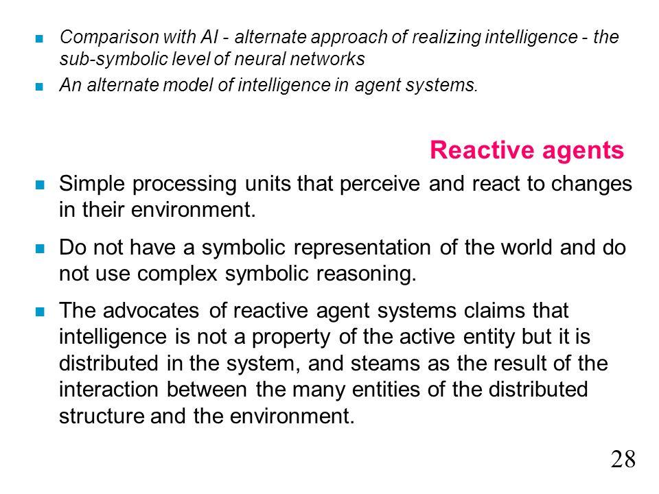 n Comparison with AI - alternate approach of realizing intelligence - the sub-symbolic level of neural networks n An alternate model of intelligence i