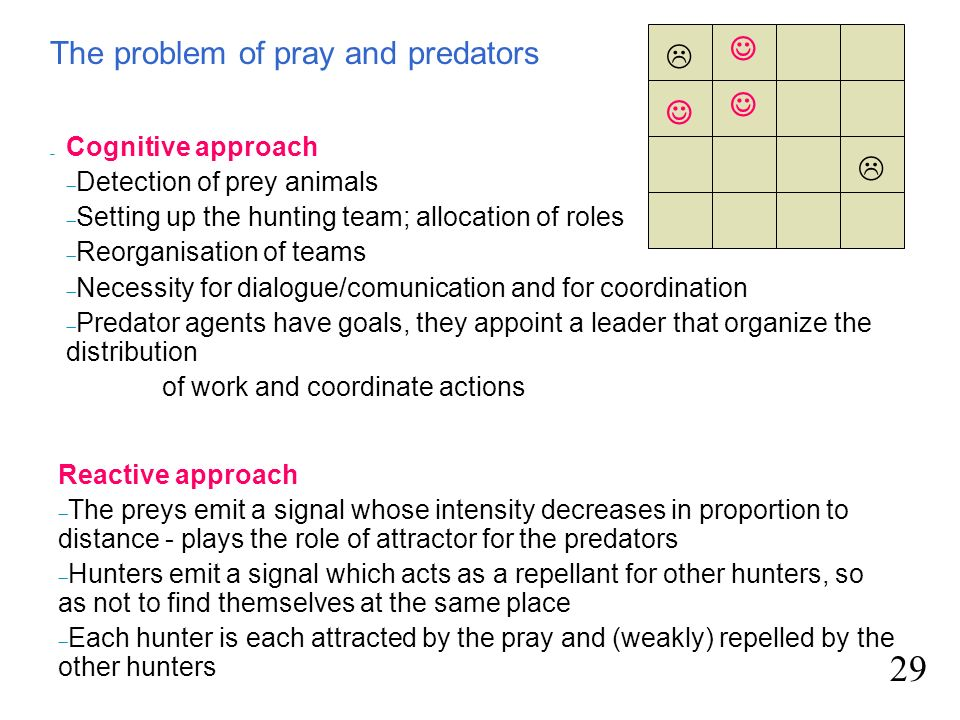 The problem of pray and predators 29 Reactive approach The preys emit a signal whose intensity decreases in proportion to distance - plays the role of