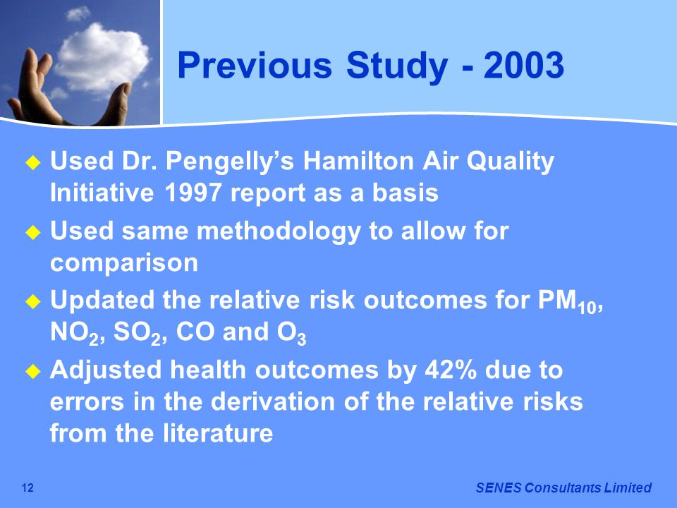 SENES Consultants Limited 12 Previous Study - 2003 Used Dr. Pengellys Hamilton Air Quality Initiative 1997 report as a basis Used same methodology to