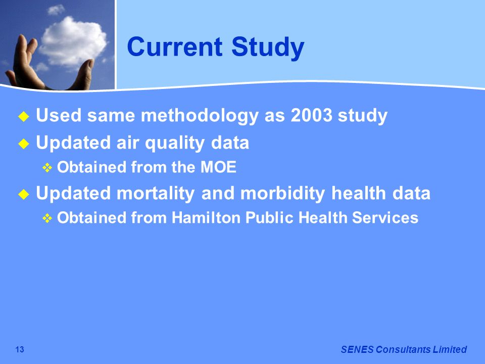 SENES Consultants Limited 13 Current Study Used same methodology as 2003 study Updated air quality data Obtained from the MOE Updated mortality and mo