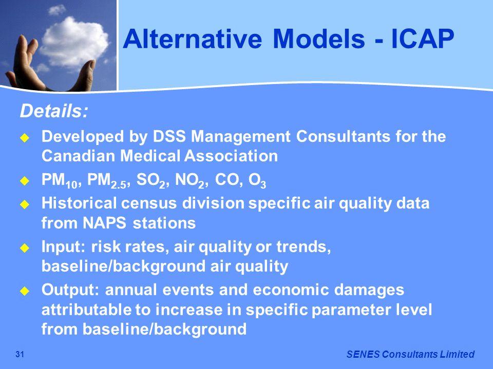 SENES Consultants Limited 31 Alternative Models - ICAP Details: Developed by DSS Management Consultants for the Canadian Medical Association PM 10, PM