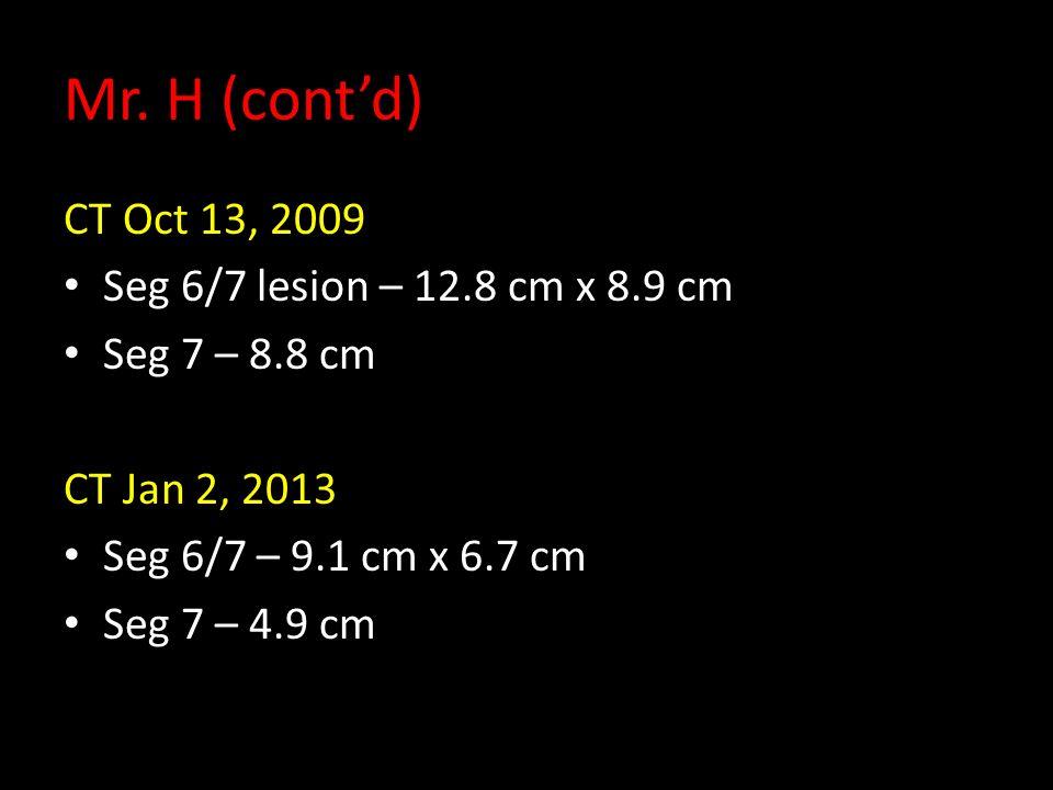 Mr. H (contd) CT Oct 13, 2009 Seg 6/7 lesion – 12.8 cm x 8.9 cm Seg 7 – 8.8 cm CT Jan 2, 2013 Seg 6/7 – 9.1 cm x 6.7 cm Seg 7 – 4.9 cm