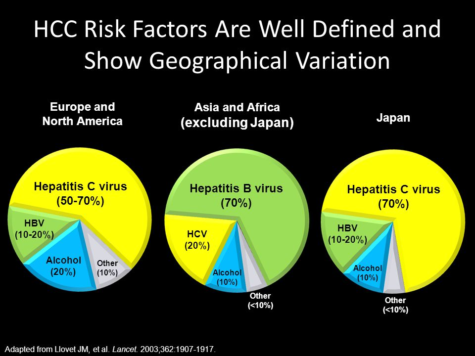 HCC Risk Factors Are Well Defined and Show Geographical Variation Hepatitis C virus (50-70%) HBV (10-20%) Alcohol (20%) Other (10%) Europe and North A
