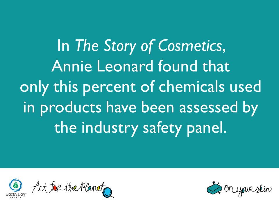 In The Story of Cosmetics, Annie Leonard found that only this percent of chemicals used in products have been assessed by the industry safety panel.